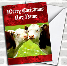 Cuddly Cows Romantic Personalized Christmas Card