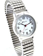Ravel Ladies Big Number Minute Rim Watch Silver Tone Stretch Patterned Bracelet