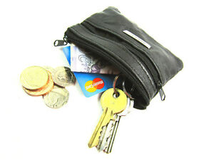 Unisex Black Small Soft Genuine Leather Coin Pouch Key Card Holder Purse Wallet