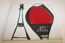 HAND PAINTED POTTERY TILE ANN WYNN REEVES KENNETH CLARK RED WINE DESIGN