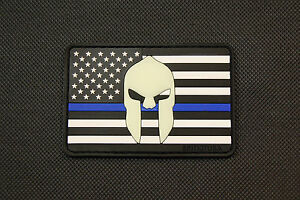 US Spartan Flag Thin Blue Line PVC Glow In Dark Police Uniform Patch