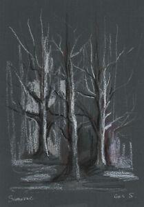 original drawing A4 144GS art samovar modern pastel trees sketch Signed 2021