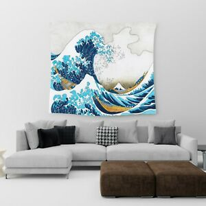 Large Wall Hanging Tapestry Japanese Anime Wave Cotton Print Art Bedspread Throw