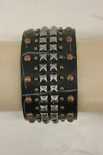NWOT UNISEX JOE'S JEANS LEATHER STUDDED CUFF BRACELET BLACK STY#JJ5005 ONE SIZE