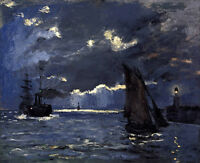 Art Oil painting Monet - Seascape (night effects) sail boats with lighthouse