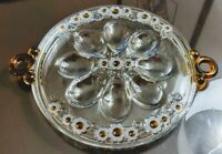 Art Deco Clear Crystal Glass Devil Egg Serving Platter Plate Tray with Handles