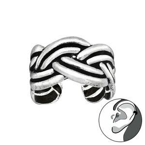 925 Sterling Silver Celtic Knot Braid Ear Cuff Non Piercing 10mm Unisex Earring