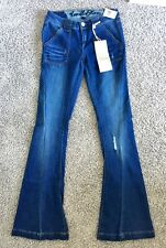 LQQK Vanilla Star Low Rise Distressed Flare Jeans size 3 Juniors acid washed NWT