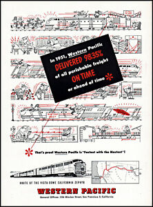 1952 Western Pacific Railroad vista-dome 98% on time vintage art print ad ads10
