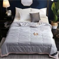 Quilted Washed Silk Blanket Thin Comforter Duvet Bedspread Bed Cover Bedding