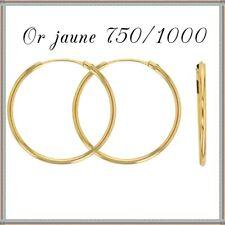 Créoles fil 1,2mm, 16-18-20 mm, Or jaune 18 Carats. Réf: 303015/16/17