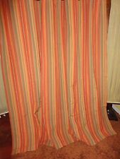SAM HEDAYA SOUTHWESTERN CINNAMON TERRACOTTA SERAPE STRIPE FABRIC SHOWER CURTAIN