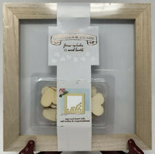 Guestbook Frame w/ 25 Wooden Hearts~Personalized Rustic Chic~Horizon~Wedding~NEW