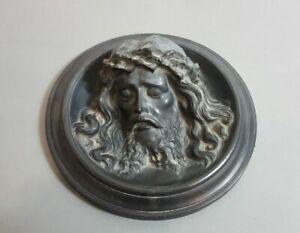 Christuskopf Metallguss Bronzeguss od Zinnguss Barockstil