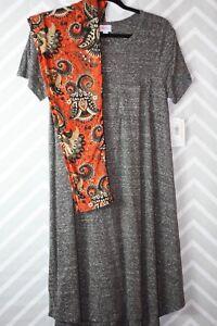 Lularoe Outfit Small Carly Dress Grey NWT TC Paisley Leggings