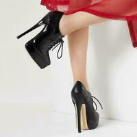 Women's Pointed Toe Lace Up Super Stiletto High Heel Platform Ankle Boots Shoes@