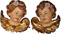 Par Cabezas D'Angelo de Pared en Madera - Couble Angel Head Madera Tallada