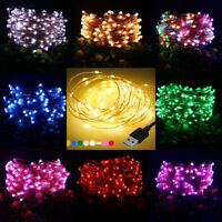 1/5/10M LED USB LED Copper Wire String Fairy Light Strip Lamp Xmas Wedding Party