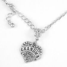 Grandma necklace Grandma charm Crystal heart  grammy  grandmother present gift