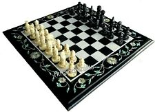 14 Inches Marble Chess Table Top Black Game Table Unique Design Home Assents