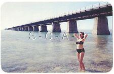 Original 1940s-60s Semi Nude Pinup Chrome PC- Bikini- 7 Mile Bridge- Key West FL