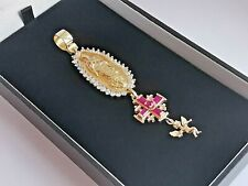 9ct 375 yellow GOLD VIRGIN MARY, CROSS, CHERUB DROP PENDANT cz synthetic ruby