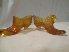 2 VINTAGE FENTON AMBER GLASS SLIPPER SHOES. DAISY & BUTTON, PUSS N' BOOTS CAT