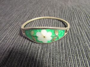 """Mexico Silver Bracelet 2 3/16"""" Mother of Pearl and Abalone Flower on Green"""