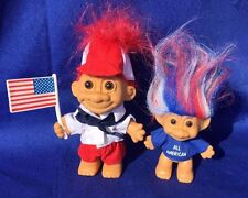 DONALD TRUMP Troll Set of 2 UNITED STATES ALL American Flag 6 Inch & 4 Inch RARE