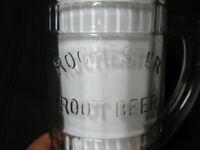 Vintage Embossed Rochester Root Beer Handled Glass Mug Heavy Glass Soda Pop 6 in