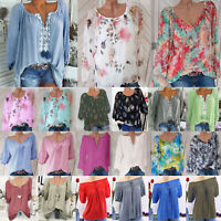 Boho Women's Summer Blouse Peasant Top Loose Baggy Casual Lace T-Shirt Plus Size