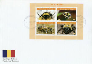 Chad 2019 FDC Bees Bee 4v M/S II Abeilles Insects Stamps