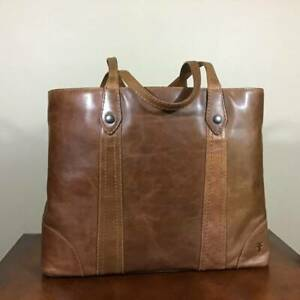 Frye Melissa Antique Italian Leather Tote Shopper Shoulder Bag Cognac Brown NWT