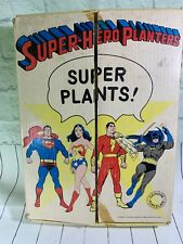 Rare 1976 SUPER HERO PLANTERS & BOX BATMAN SUPERMAN C.MARVEL WONDER WOMAN