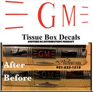 GM Tissue box decal set master delux fleetline fleetmaster styleline Kleenex