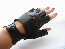 Vintage Sermoneta black real leather fingerless driving gloves made in Italy S