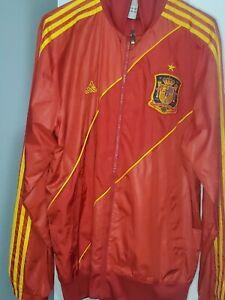 Mens Adidas Spain Track Soccer Windbreaker  Jacket Red / Yellow Size Medium