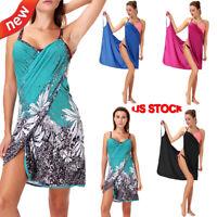 FASHION Women Plus Size Spaghetti Strap Cover Up Beach Backless Wrap Long Dress