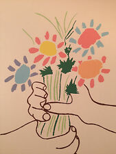 Picasso Signed  Hand Silk Screen #295 Modern  Classic  Series Bouquet of Peace