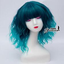 Lolita Curly Medium Mixed Blue Women Cosplay Harajuku 35CM Party Wig With Bangs
