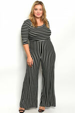 Womens Plus Size Black and White Jumpsuit 3XL Wide Leg Striped