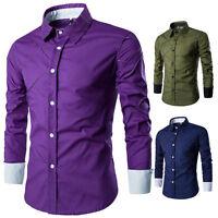 Fashion Mens Luxury Stylish Casual Dress Shirt Slim Fit T-Shirts Long Sleeve ⒈⒌⒏