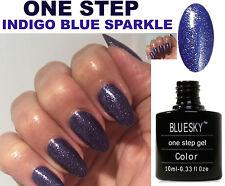 BLUESKY ONE STEP 09 BLUE INDIGO SPARKLE NAIL GEL POLISH UV LED SOAK OFF