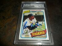 1980 TOPPS #80 RON LEFLORE Signed BOLDLY AUTO Detroit TIGERS PSA/DNA CENTERED