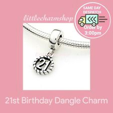 AUTHENTIC PANDORA SILVER TWENTY FIRST 21ST DANGLE CHARM - 790496
