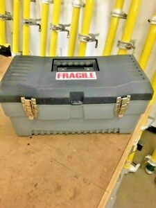 "18""L X 9""W X 7""D Durable Stack-on Plastic Tool box W/ Tray"