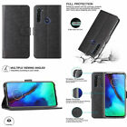 Motorola Moto G Stylus Wallet Case Durable Canvas Card Slots Stand Cover Black