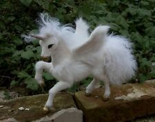 middle simulation unicorn toy resin&fur wings unicorns model gift 23x20x14cm