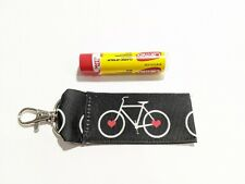 Bicycles and Hearts Chap Stick Holder with Lobster Claw Swivel Clip