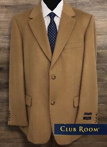 NWT Club Room Men's Silk Cashmere Wool Camel Brown Blazer Sport Coat Jacket 44L